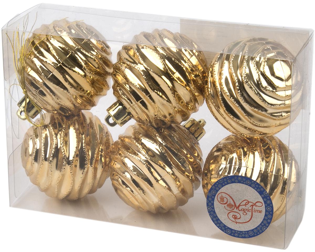Новогоднее подвесное украшение Magic Time Шар. Галактика, цвет:золотой, 6 шт76025Новогоднее украшение Magic Time, выполненное из полистирола, отлично подойдет для декорации вашего дома и новогодней ели. С помощью специальной петельки украшение можно повесить в любом понравившемся вам месте. Но, конечно, удачнее всего оно будет смотреться на праздничной елке.Елочная игрушка - символ Нового года. Она несет в себе волшебство и красоту праздника. Такое украшение создаст в вашем доме атмосферу праздника, веселья и радости.В наборе 6 подвесных украшений.