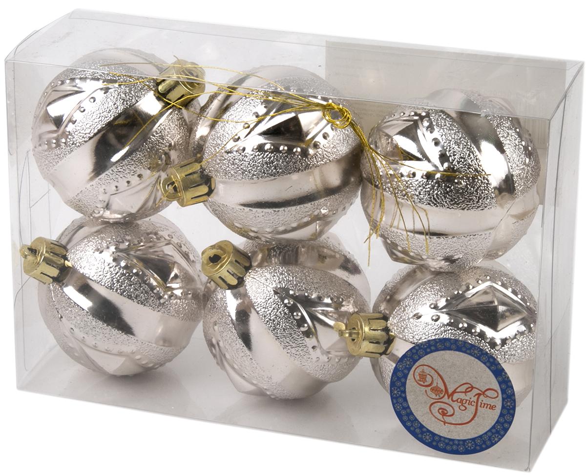 Украшение новогоднее елочное Magic Time Шар. Геометрия серебряный, 6 шт. 7602776027Новогоднее подвесное украшение Шар Геометрия серебряный из полистирола. Набор из 6 шт, 6см, артикул 76027