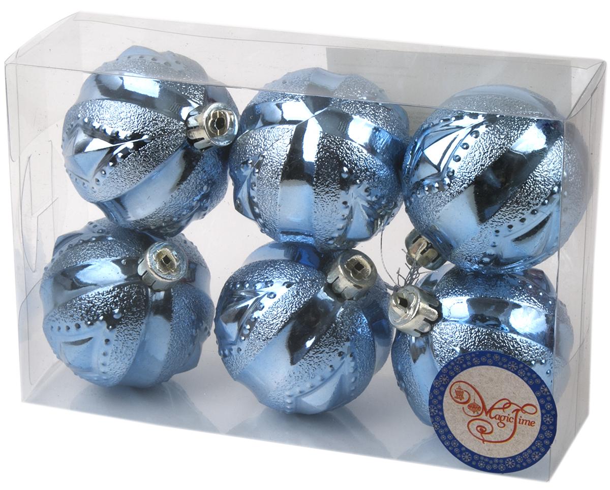 Украшение новогоднее елочное Magic Time Шар. Геометрия голубой, 6 шт. 7602976029Новогоднее подвесное украшение Шар Геометрия голубой из полистирола. Набор из 6 шт, 6см, артикул 76029