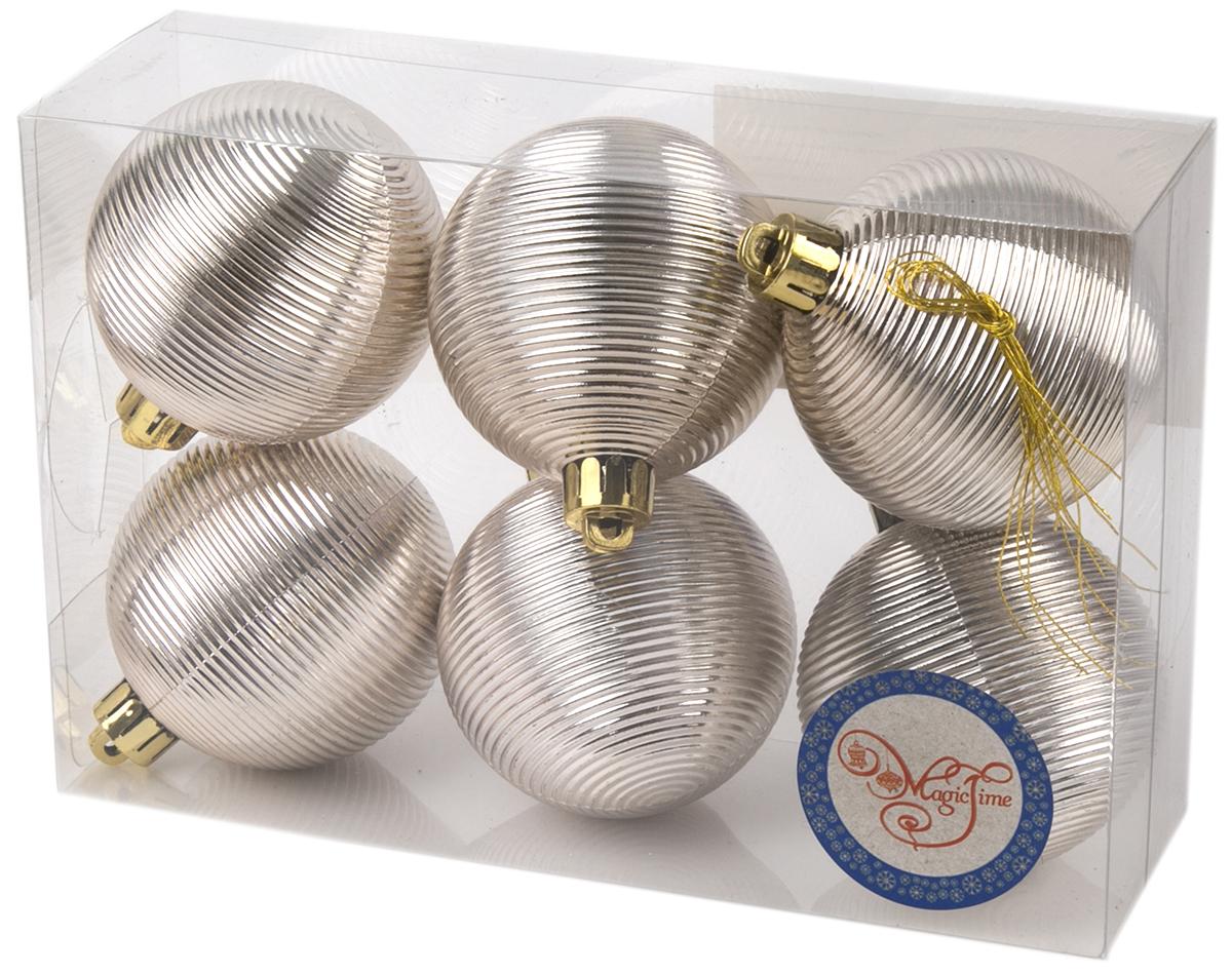 Украшение новогоднее елочное Magic Time Шар. Гипноз серебряный, 6 шт. 7603376033Новогоднее подвесное украшение Шар Гипноз серебряный из полистирола. Набор из 6 шт, 6см, артикул 76033