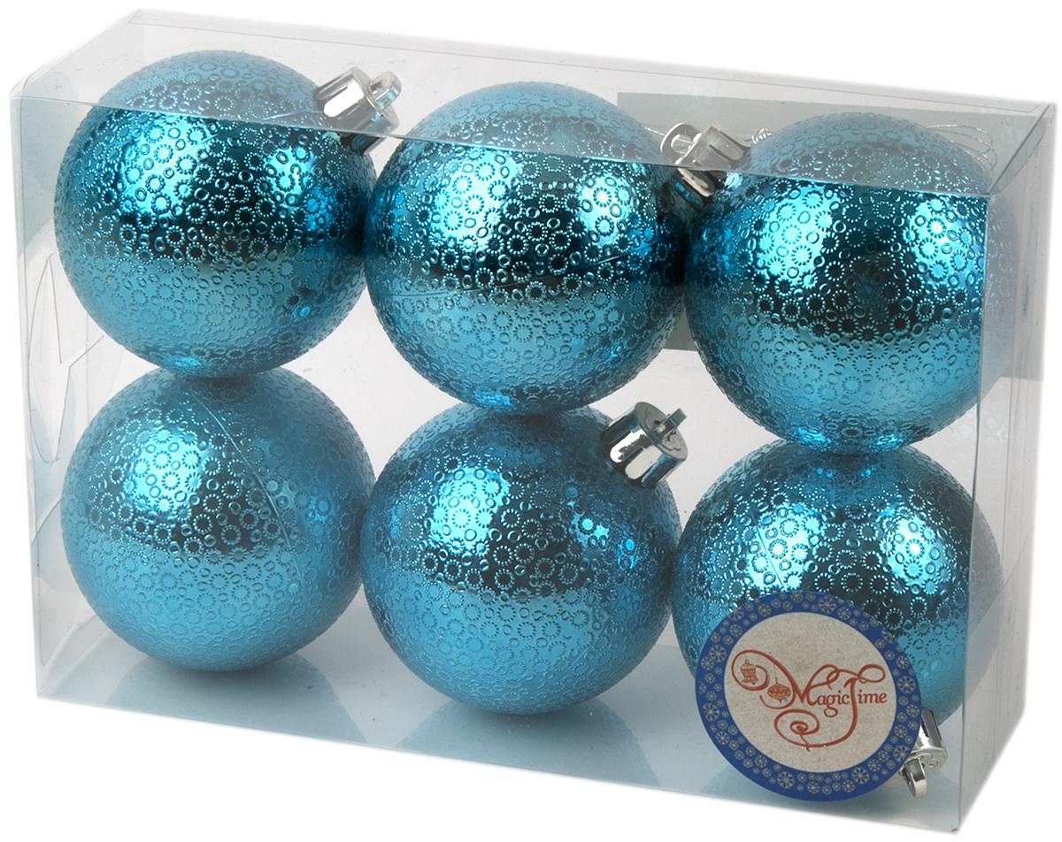 Новогоднее подвесное украшение Magic Time Шар. Мерцание, цвет: бирюзовый, 6 шт76037Новогоднее украшение Magic Time, выполненное из полистирола, отлично подойдет для декорации вашего дома и новогодней ели. С помощью специальной петельки украшение можно повесить в любом понравившемся вам месте. Но, конечно, удачнее всего оно будет смотреться на праздничной елке.Елочная игрушка - символ Нового года. Она несет в себе волшебство и красоту праздника. Такое украшение создаст в вашем доме атмосферу праздника, веселья и радости.В наборе 6 подвесных украшений.
