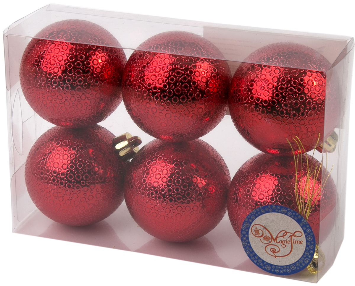 Украшение новогоднее елочное Magic Time Шар. Мерцание красный, 6 шт. 7604076040Новогоднее подвесное украшение Шар Мерцание красный из полистирола. Набор из 6 шт, 6см, артикул 76040
