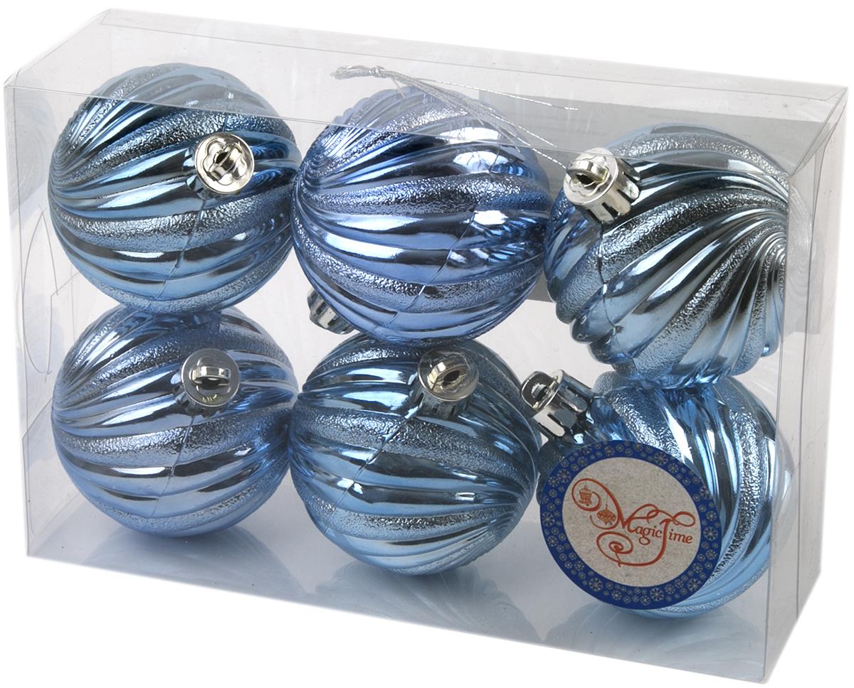 Новогоднее подвесное украшение Magic Time Шар. Вихрь, цвет:голубой, 6 шт76058Новогоднее украшение Magic Time, выполненное из полистирола, отлично подойдет для декорации вашего дома и новогодней ели. С помощью специальной петельки украшение можно повесить в любом понравившемся вам месте. Но, конечно, удачнее всего оно будет смотреться на праздничной елке.Елочная игрушка - символ Нового года. Она несет в себе волшебство и красоту праздника. Такое украшение создаст в вашем доме атмосферу праздника, веселья и радости.В наборе 6 подвесных украшений.