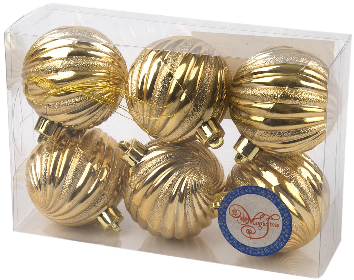 Новогоднее подвесное украшение Magic Time Шар. Вихрь, цвет:золотой, 6 шт76059Новогоднее украшение Magic Time, выполненное из полистирола, отлично подойдет для декорации вашего дома и новогодней ели. С помощью специальной петельки украшение можно повесить в любом понравившемся вам месте. Но, конечно, удачнее всего оно будет смотреться на праздничной елке.Елочная игрушка - символ Нового года. Она несет в себе волшебство и красоту праздника. Такое украшение создаст в вашем доме атмосферу праздника, веселья и радости.В наборе 6 подвесных украшений.