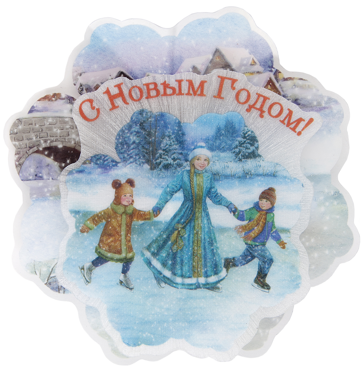 Украшение новогоднее Magic Time Зимние забавы, с подсветкой украшение новогоднее magic time дед мороз и медвежонок со светодиодной подсветкой 12 x 8 x 3 см