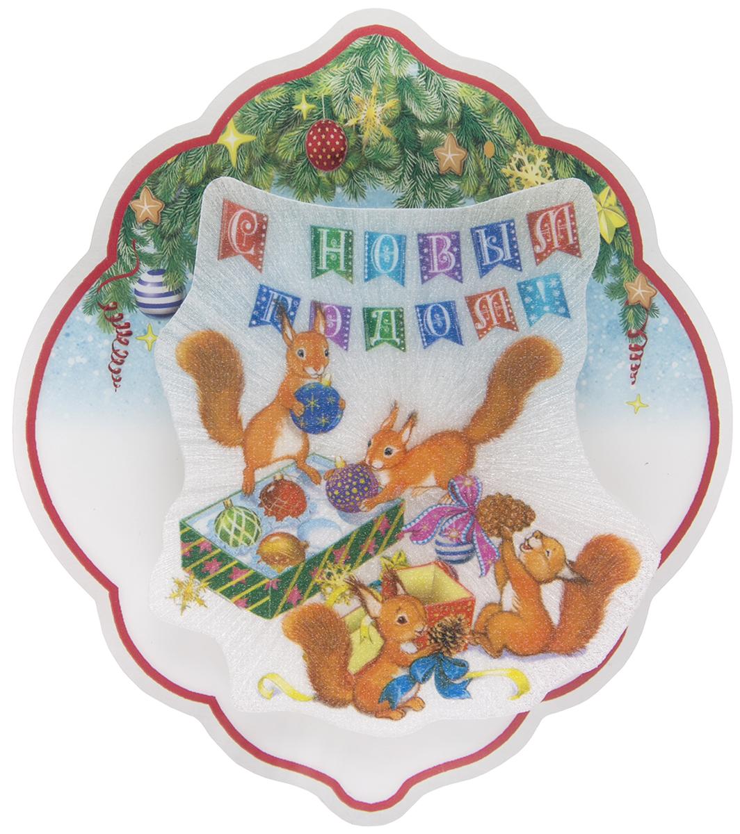 Новогоднее подвесное украшение Magic Time Белочки, с подсветкой украшение новогоднее magic time дед мороз и медвежонок со светодиодной подсветкой 12 x 8 x 3 см