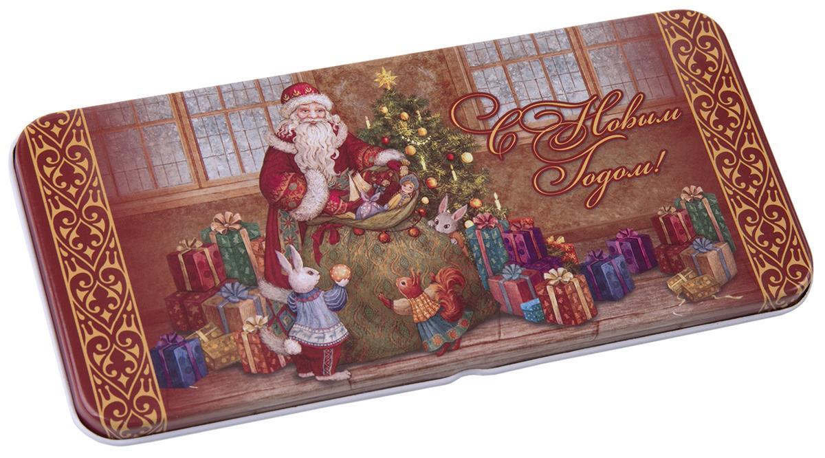 Коробочка для денег подарочная Magic Time Мешок с подарками. 7634076340Коробочка для денег Magic Time, выполненная из черного окрашенного металла. Крышка оформлена декоративным рисунком.Окружите близких людей вниманием и заботой, вручив презент в нарядном, праздничном оформлении.
