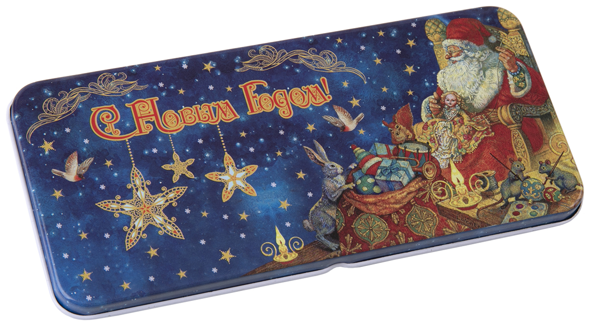 Коробочка для денег подарочная Magic Time Мастерская Деда Мороза. 7634176341Подарочная коробочка для денег Конверт для денег Мастерская Деда Мороза из черного окрашенного металла, 16,6 х 7,6 х 1см, артикул 76341