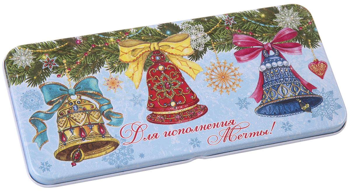 Коробочка для денег подарочная Magic Time Елки с колокольчиками. 7634576345Коробочка для денег Magic Time, выполненная из черного окрашенного металла. Крышка оформлена декоративным рисунком. Окружите близких людей вниманием и заботой, вручив презент в нарядном, праздничном оформлении.
