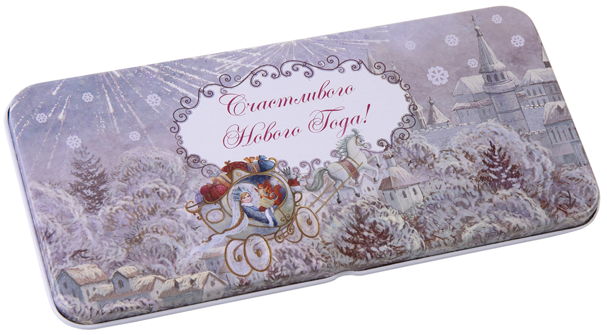 Коробочка для денег подарочная Magic Time Новогодняя колесница. 7634776347Подарочная коробочка для денег Конверт для денег Новогодняя колесница из черного окрашенного металла, 16,6 х 7,6 х 1см, артикул 76347