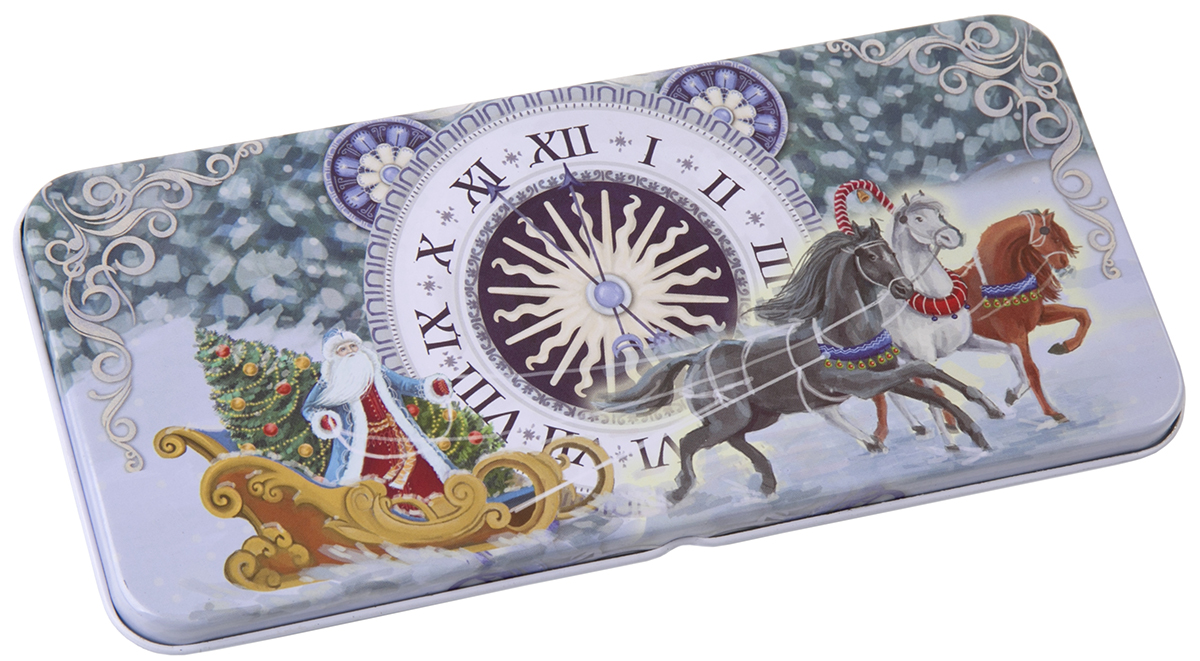 Коробочка для денег подарочная Magic Time Новогодние часы. 7634976349Коробочка для денег Magic Time, выполненная из черного окрашенного металла. Крышка оформлена декоративным рисунком.Окружите близких людей вниманием и заботой, вручив презент в нарядном, праздничном оформлении.