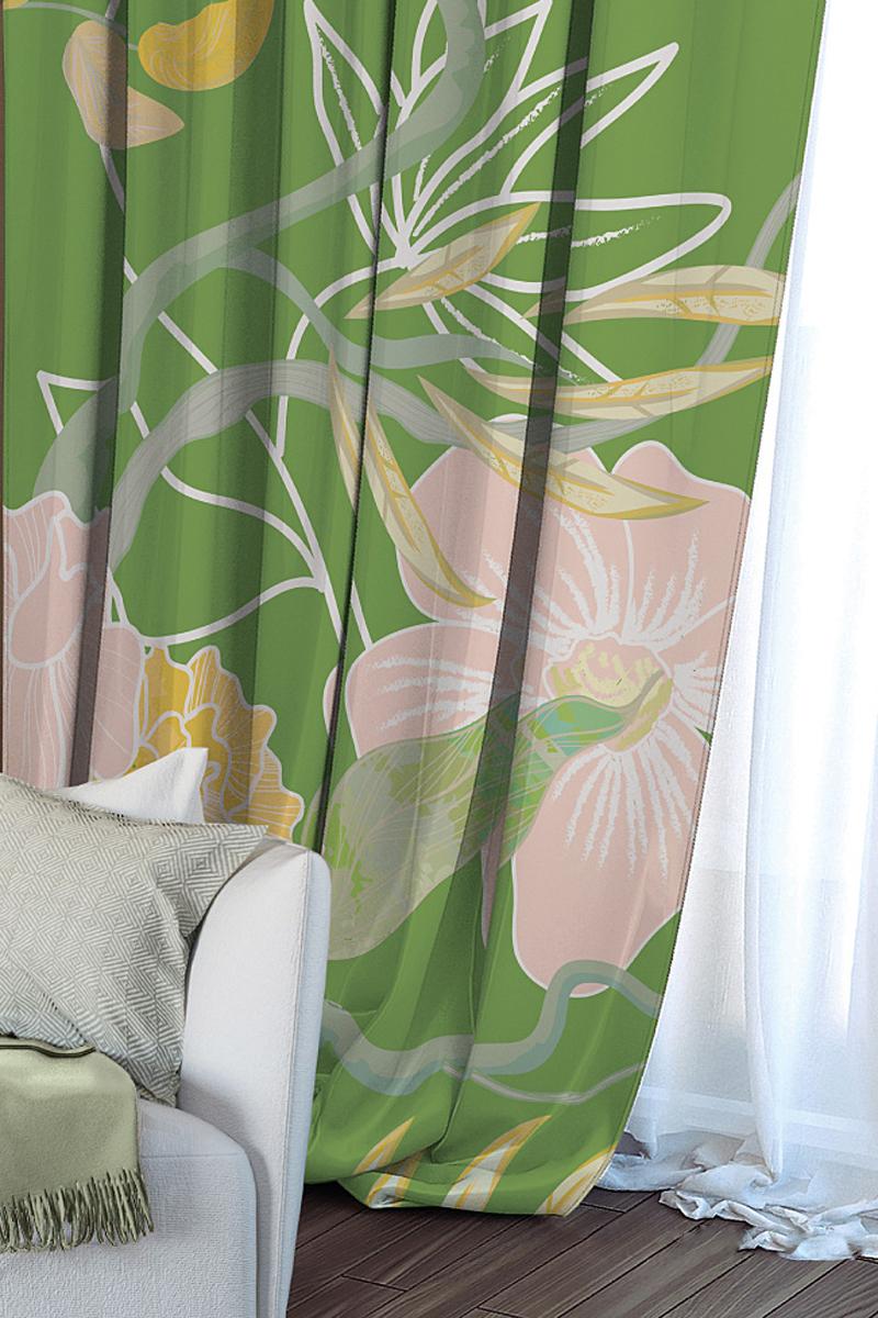 Штора Волшебная ночь Summer Fantasy, на ленте, цвет: зеленый, высота 270 см704543Шторы коллекции Волшебная ночь - это готовое решение для Вашего интерьера, гарантирующее красоту, удобство и индивидуальный стиль! Длина штор регулируется с помощью клеевой паутинки (в комплекте). Изделия крепятся на вшитую шторную ленту: на крючки или путем продевания на карниз. Дизайнеры Марки предлагают уже сформированные комплекты штор из различных тканей и рисунков для создания идеальной композиции на окне. Для удобства выбора дизайны штор распределены в стилевые коллекции: ЭТНО, ВЕРСАЛЬ, ЛОФТ, ПРОВАНС. В коллекции Волшебная ночь к данной шторе Вы также сможете подобрать шторы из тканей: ВУАЛЬ - легкое затемнение, декоративная функция, БЛЭКАУТ (100% затемненение), сатен и ГАБАРДИН (частичное затемнение), которые будут прекрасно сочетаться по дизайну и обеспечат особый уют Вашему дому.