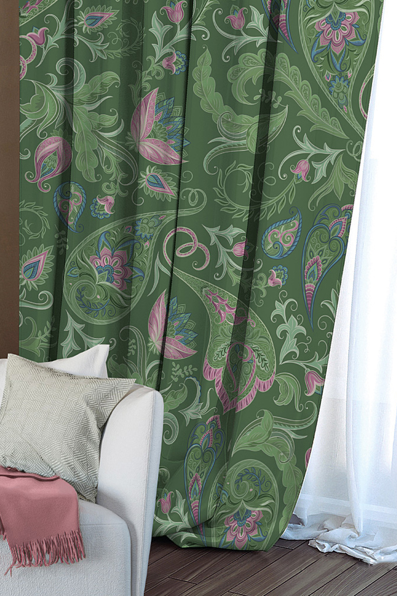 Штора Волшебная ночь Impression, на ленте, цвет: зеленый, высота 270 см704547Шторы Волшебная ночь - это готовое решение для вашего интерьера, гарантирующее красоту, удобство и индивидуальный стиль! Штора изготовлена из ткани Blackout. Blackout - это ткань, которая совершенно не пропускает солнечные лучи и способна затенять помещение на 90-100%. Длина шторы регулируется с помощью клеевой паутинки (в комплекте). Изделие крепится на вшитую шторную ленту: на крючки или путем продевания на карниз. Дизайнеры марки Волшебная ночь предлагают уже сформированные комплекты штор из различных тканей и рисунков для создания идеальной композиции на окне. Для удобства выбора дизайны штор распределены в стилевые коллекции: этно, версаль, лофт, прованс.
