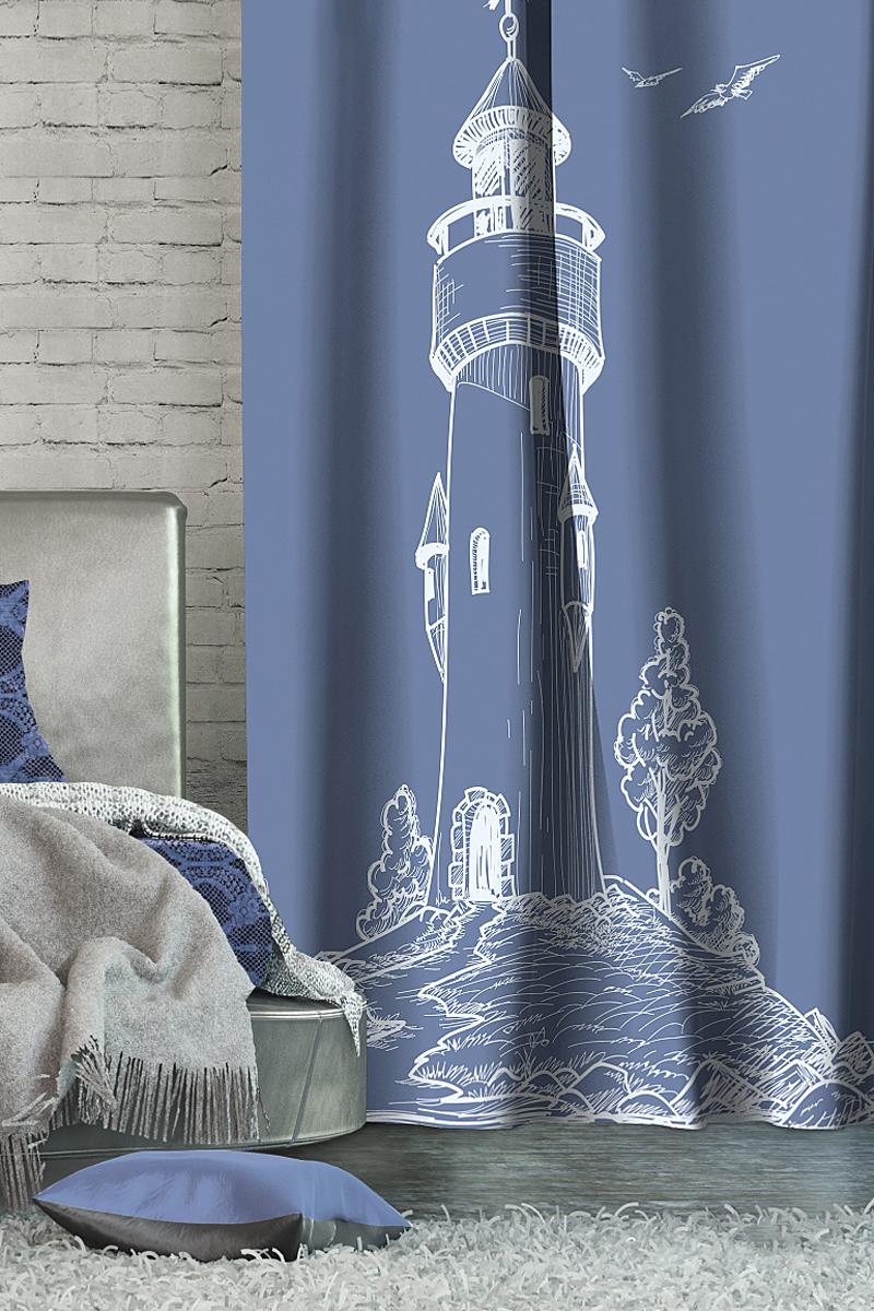 Штора Волшебная ночь Lighthouse, на ленте, цвет: синий, высота 270 см705458Шторы коллекции Волшебная ночь - это готовое решение для Вашего интерьера, гарантирующее красоту, удобство и индивидуальный стиль! Длина штор регулируется с помощью клеевой паутинки (в комплекте). Изделия крепятся на вшитую шторную ленту: на крючки или путем продевания на карниз. Дизайнеры Марки предлагают уже сформированные комплекты штор из различных тканей и рисунков для создания идеальной композиции на окне. Для удобства выбора дизайны штор распределены в стилевые коллекции: ЭТНО, ВЕРСАЛЬ, ЛОФТ, ПРОВАНС. В коллекции Волшебная ночь к данной шторе Вы также сможете подобрать шторы из тканей: ВУАЛЬ - легкое затемнение, декоративная функция, БЛЭКАУТ (100% затемненение), сатен и ГАБАРДИН (частичное затемнение), которые будут прекрасно сочетаться по дизайну и обеспечат особый уют Вашему дому.