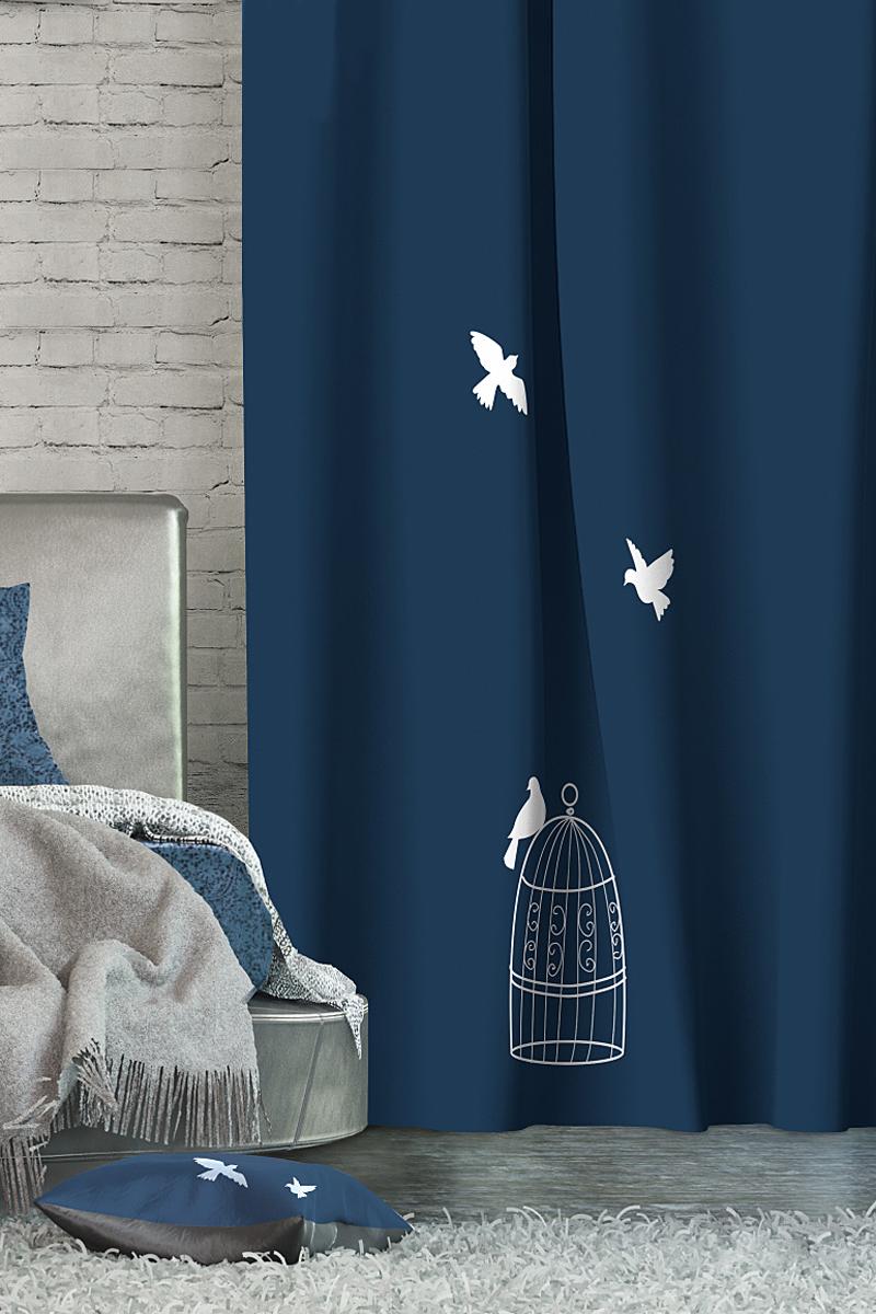 Штора Волшебная ночь Dove, на ленте, цвет: синий, высота 270 см705460Шторы коллекции Волшебная ночь - это готовое решение для Вашего интерьера, гарантирующее красоту, удобство и индивидуальный стиль! Длина штор регулируется с помощью клеевой паутинки (в комплекте). Изделия крепятся на вшитую шторную ленту: на крючки или путем продевания на карниз. Дизайнеры Марки предлагают уже сформированные комплекты штор из различных тканей и рисунков для создания идеальной композиции на окне. Для удобства выбора дизайны штор распределены в стилевые коллекции: ЭТНО, ВЕРСАЛЬ, ЛОФТ, ПРОВАНС. В коллекции Волшебная ночь к данной шторе Вы также сможете подобрать шторы из тканей: ВУАЛЬ - легкое затемнение, декоративная функция, БЛЭКАУТ (100% затемненение), сатен и ГАБАРДИН (частичное затемнение), которые будут прекрасно сочетаться по дизайну и обеспечат особый уют Вашему дому.