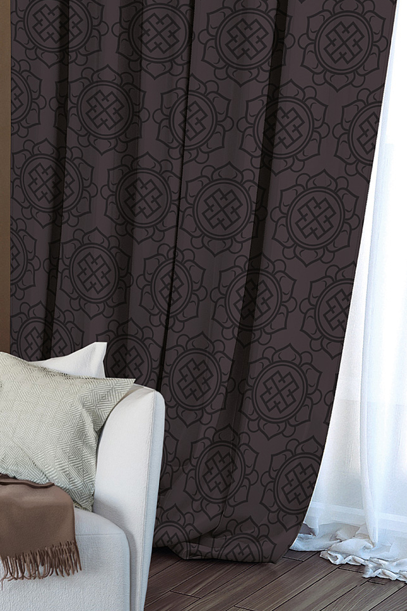 Штора Волшебная ночь Gilt, на ленте, цвет: темно-коричневый, высота 270 см705473Шторы Волшебная ночь - это готовое решение для вашего интерьера, гарантирующее красоту, удобство и индивидуальный стиль! Штора Gilt изготовлена из ткани Blackout. Blackout - это ткань, которая совершенно не пропускает солнечные лучи и способна затенять помещение на 90-100%. Длина шторы регулируется с помощью клеевой паутинки (в комплекте). Изделие крепится на вшитую шторную ленту: на крючки или путем продевания на карниз.Дизайнеры марки Волшебная ночь предлагают уже сформированные комплекты штор из различных тканей и рисунков для создания идеальной композиции на окне. Для удобства выбора дизайны штор распределены в стилевые коллекции: этно, версаль, лофт, прованс.