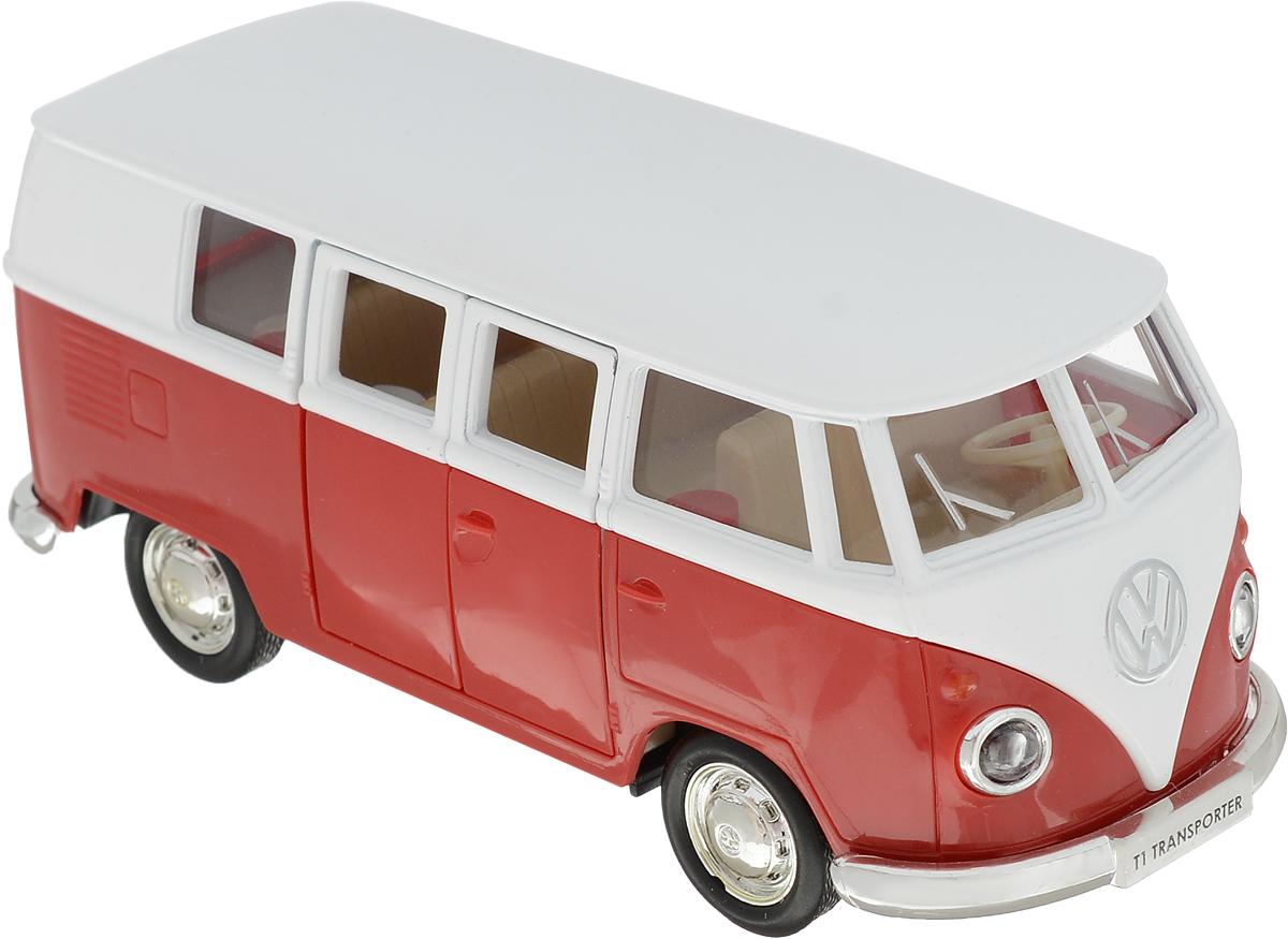 Autotime Модель автомобиля Volkswagen T1 Transporter цвет белый красный autotime набор машинок recovery truck long эвакуатор с прицепом