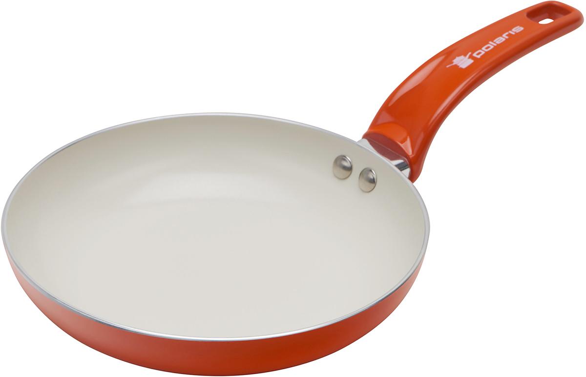 Сковорода Polaris Rainbow, с керамическим покрытием, цвет: оранжевый. Диаметр 24 смRain-24FСковорода Polaris Rainbow изготовлена из штампованного алюминия толщиной 2,5 мм с керамическим антипригарным покрытием. Данное покрытие является абсолютно экологичным и не содержит вредных веществ, таких как PTFE и PFOA. Это позволяет готовить здоровую пищу с минимальным добавлением жира или подсолнечного масла. Сковорода быстро разогревается и распределяет тепло по всей поверхности.Сковорода оснащена удобной ручкой из бакелита. Изделие подходит для газовых, электрических, стеклокерамических плит. Не подходит для индукционных плит. Сковороду можно мыть в посудомоечной машине. Не использовать в СВЧ-печах.Высота стенки: 4,5 см.Толщина стенки: 2,5 мм.Толщина дна: 2,5 мм.Длина ручки: 18 см.