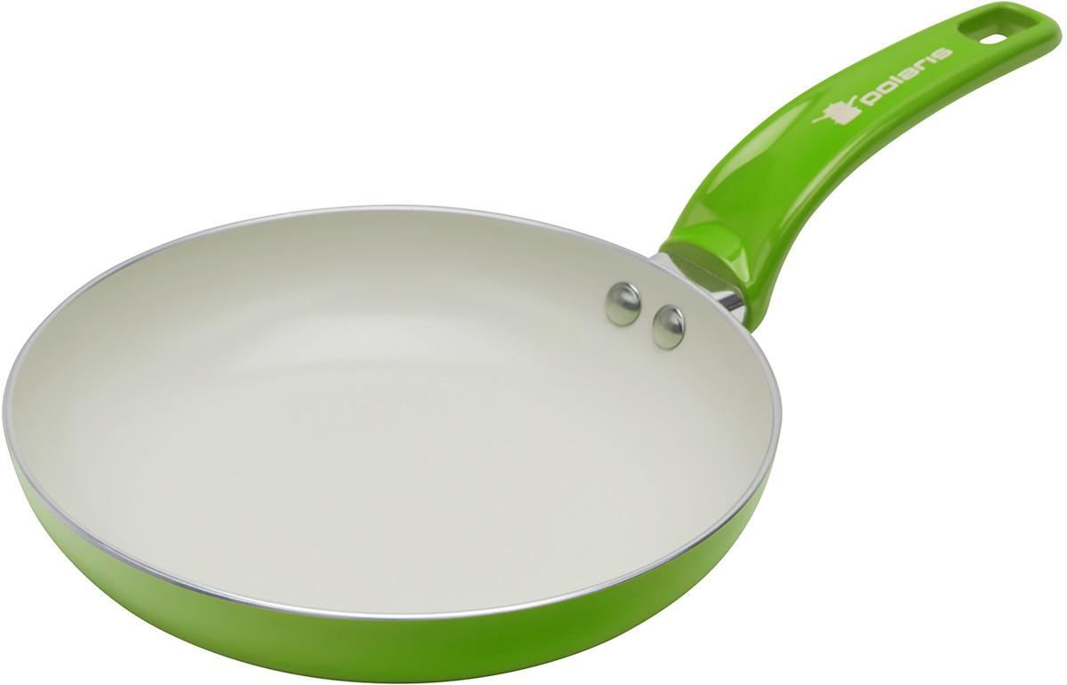 Сковорода Polaris Rainbow, с керамическим покрытием, цвет: салатовый. Диаметр 26 смRain-26FСковорода Polaris Rainbow изготовлена из штампованного алюминия толщиной 2,5 мм с керамическим антипригарным покрытием. Данное покрытие является абсолютно экологичным и не содержит вредных веществ, таких как PTFE и PFOA. Это позволяет готовить здоровую пищу с минимальным добавлением жира или подсолнечного масла. Сковорода быстро разогревается и распределяет тепло по всей поверхности.Сковорода оснащена удобной ручкой из бакелита. Изделие подходит для газовых, электрических, стеклокерамических плит. Не подходит для индукционных плит. Сковороду можно мыть в посудомоечной машине. Не использовать в СВЧ-печах.Высота стенки: 5 см.Толщина стенки: 2,5 мм.Толщина дна: 2,5 мм.Длина ручки: 18 см.
