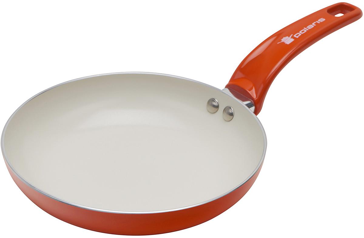 Сковорода Polaris Rainbow, с керамическим покрытием, цвет: оранжевый. Диаметр 26 смRain-26FСковорода Polaris Rainbow изготовлена из штампованного алюминия толщиной 2,5 мм с керамическим антипригарным покрытием. Данное покрытие является абсолютно экологичным и не содержит вредных веществ, таких как PTFE и PFOA. Это позволяет готовить здоровую пищу с минимальным добавлением жира или подсолнечного масла. Сковорода быстро разогревается и распределяет тепло по всей поверхности.Сковорода оснащена удобной ручкой из бакелита. Изделие подходит для газовых, электрических, стеклокерамических плит. Не подходит для индукционных плит. Сковороду можно мыть в посудомоечной машине. Не использовать в СВЧ-печах.Высота стенки: 5 см.Толщина стенки: 2,5 мм.Толщина дна: 2,5 мм.Длина ручки: 18 см.