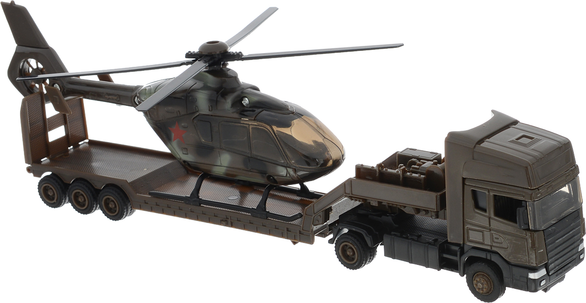 Autogrand Модель автомобиля Scania TranSport Военная с вертолетом виниловые проигрыватели ion виниловый проигрыватель transport