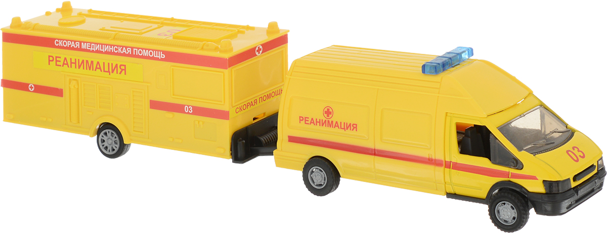 Autotime Машинка Rescue Van Скорая помощь с прицепом машинки autotime машина uaz 31514 ваи