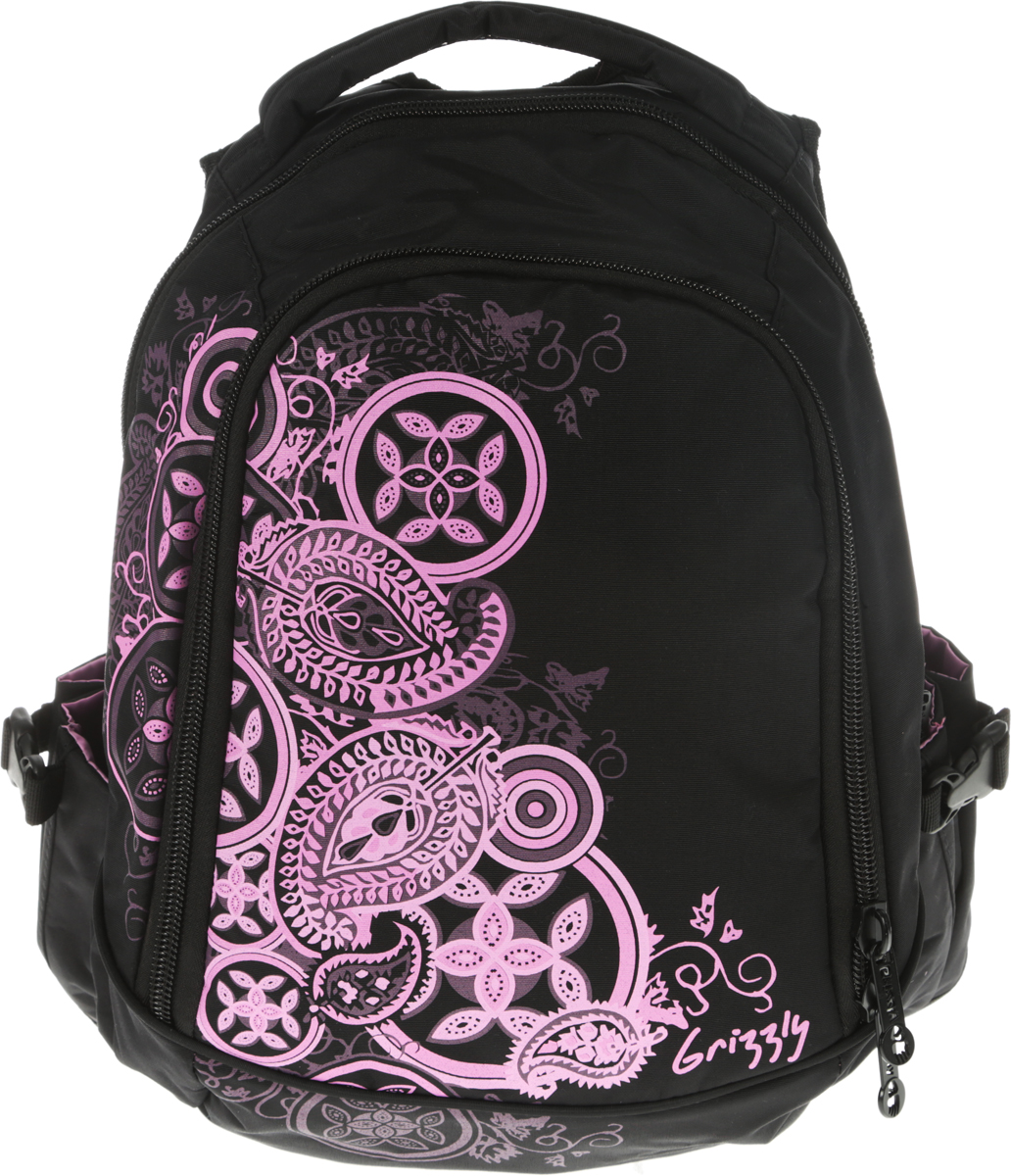 """Рюкзак молодежный женский """"Grizzly"""", цвет: черный, 14,5 л. RD-643-2/7"""