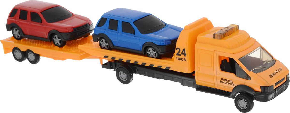 Autotime Набор машинок Recovery Truck Long Эвакуатор с прицепом машинки autotime машина uaz 31514 ваи
