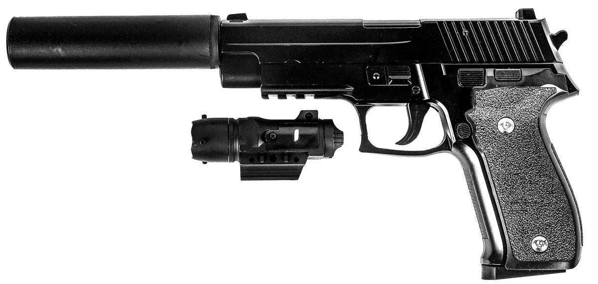Пистолет софтэйр Galaxy G.26А, пружинный, 6 ммG.26АПружинный пистолет G.26А - реплика известного пистолета Sig Sauer 226. Корпус пистолета цельнометаллический. В магазин вмещается 13 шариков BB 6 мм. Выстрел из пистолета осуществляется с помощью пружины, максимальная начальная скорость выстрела не более 50 м/с. Прицельные приспособления не регулируемые, пистолет предназначен для стрельбы на короткие дистанции. Укомплектован лазерным целеуказателем и имитацией глушителя.