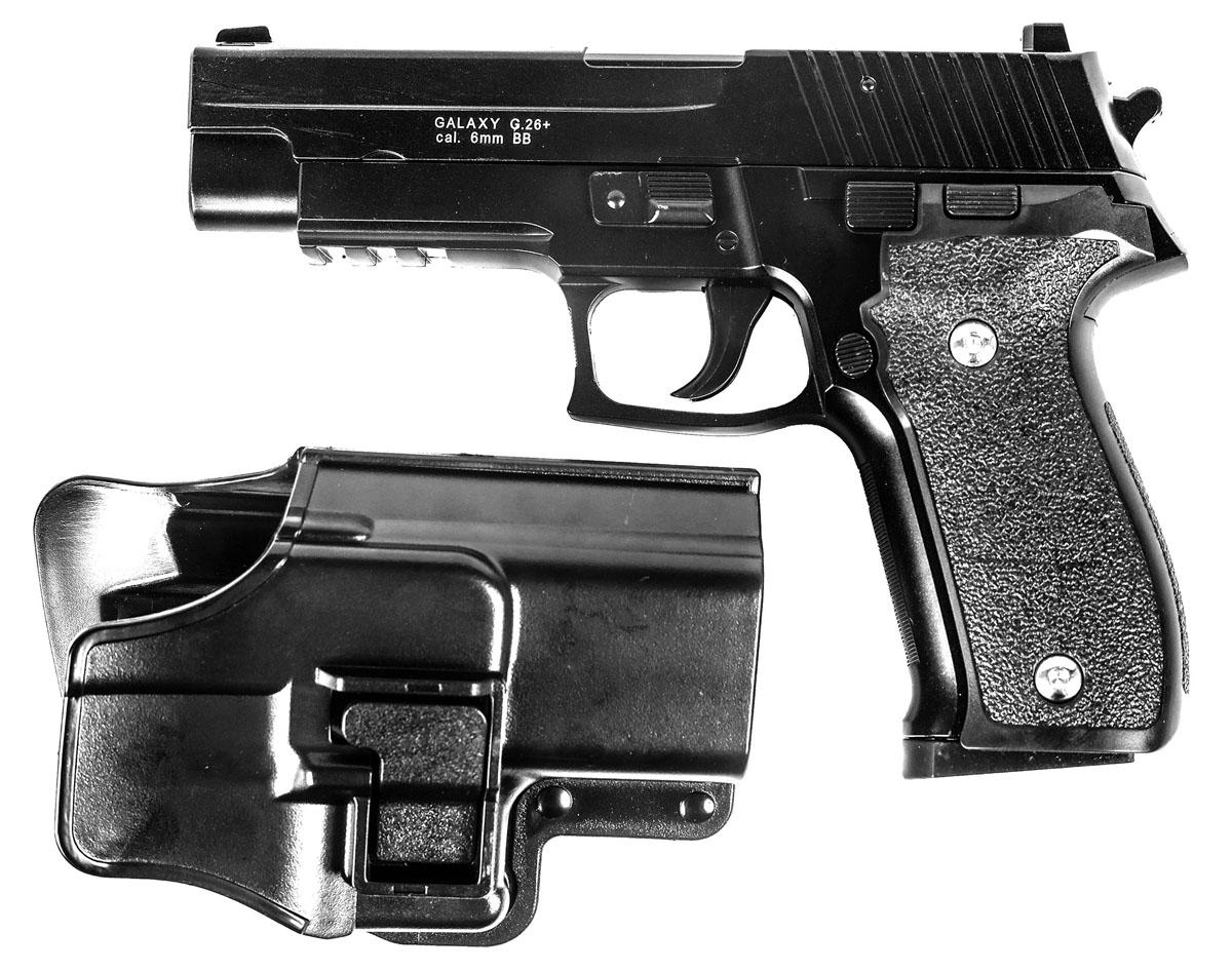 Пружинный пистолет G.26+ - реплика известного пистолета Sig Sauer 226. Корпус пистолета  цельнометаллический. В магазин вмещается 13 шариков BB 6 мм. Выстрел из пистолета  осуществляется с помощью пружины, максимальная начальная скорость выстрела не более 50  м/с. Прицельные приспособления не регулируемые, пистолет предназначен для стрельбы на  короткие дистанции. Укомплектован пластиковой тактической поясной кобурой с системой  быстрого извлечения.