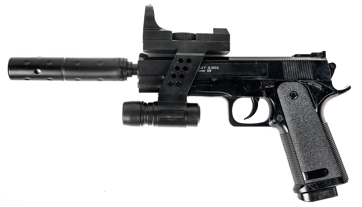 Пистолет софтайр Galaxy G.053A, пружинный, 6 ммG.053AПружинный пистолет G.053A является имитацией пистолета Colt 1911 . Корпус пистолета пластиковый. В магазин вмещается 13 шариков BB 6 мм. Выстрел из пистолета осуществляется с помощью пружины, максимальная начальная скорость выстрела не более 50 м/с. Прицельные приспособления не регулируемые, пистолет предназначен для стрельбы на короткие дистанции. Укомплектован лазерным целеуказателем, подствольным фонариком и имитацией глушителя.
