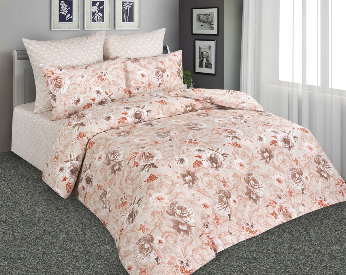 Комплект постельного белья Amore Mio, 2-спальный, наволочки 70х70, цвет: бежевый. 89883