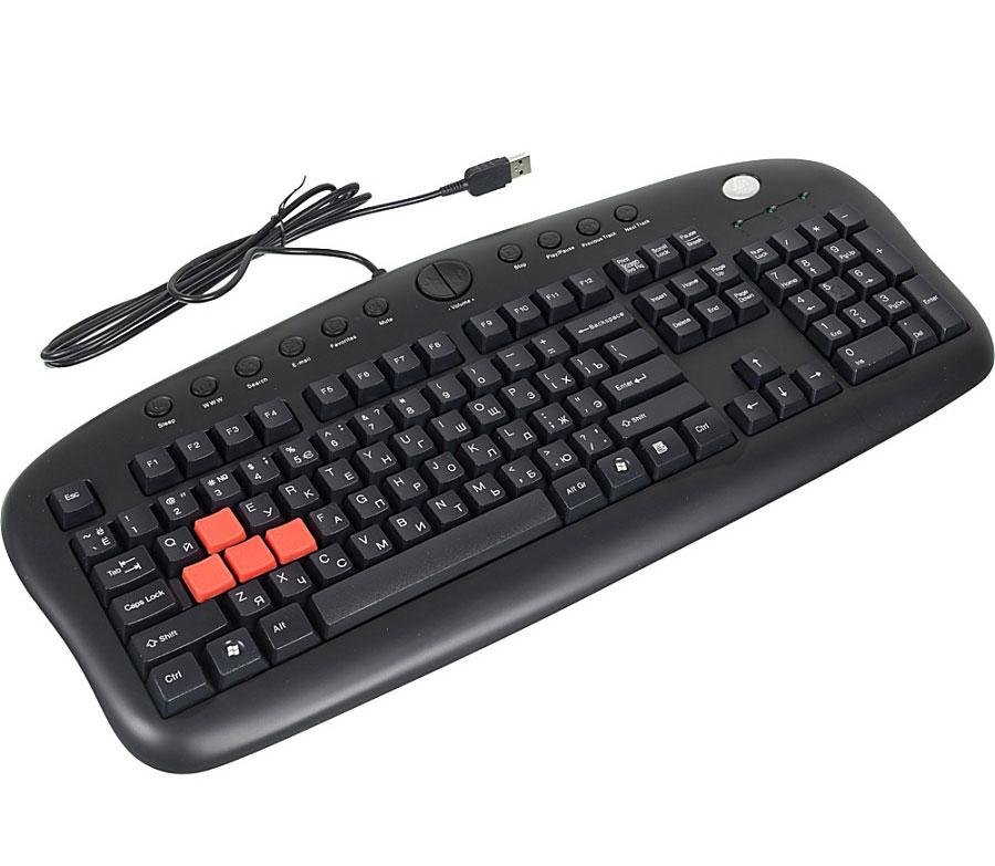 A4Tech KB-28G-1, Black клавиатура517935Проводная клавиатура A4Tech KB-28G-1 создана специально для игр. Главная особенность модели - 4 цветных прорезиненных клавиши (A, S, W, D), соответствующие игровым командам вверх, вниз, влево, вправо. Клавиши имеют специальный дизайн, они помогут вам более точно и комфортно действовать в любой игре. С помощью небольшого пинцета, входящего в комплектацию модели, цветные клавиши можно быстро и легко заменить на обычные.Другие особенности игровой клавиатуры: стандартная раскладка клавиш и классический дизайн модели для большей устойчивости клавиатуры в процессе игры. Проводная клавиатура имеет также 12 горячих клавиш для быстрого доступа к мультимедиа и Интернет-приложениям.Особенности:4 цветных игровых клавиши Стандартная раскладка клавиш 12 горячих клавиш для быстрого доступа к приложениям Классический дизайн клавиатуры