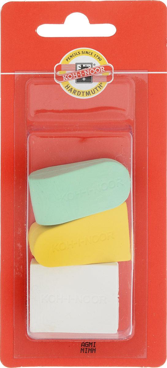 Koh-i-Noor Набор ластиков цвет желтый зеленый белый 3 шт -  Чертежные принадлежности