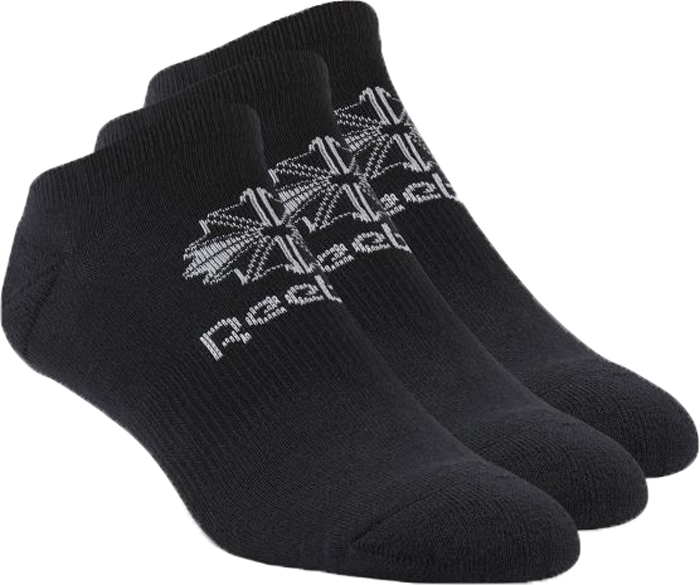 Носки Reebok Cl Fo No Show Sock, цвет: черный, 3 пары. AY0013. Размер 43/47AY0013Не бойся выкладываться в полную силу во время каждого движения. Эти носки плотно сидят на ноге и не подведут в самый ответственный момент. Благодаря низкому дизайну они совершенно не заметны и при этом гарантируют поддержку, амортизацию и комфорт.Благодаря низкому дизайну совершенно не заметны под обувьюМанжеты в рубчик для надежной посадкиВ одной упаковке три парыПоддержка свода стопы для комфорта