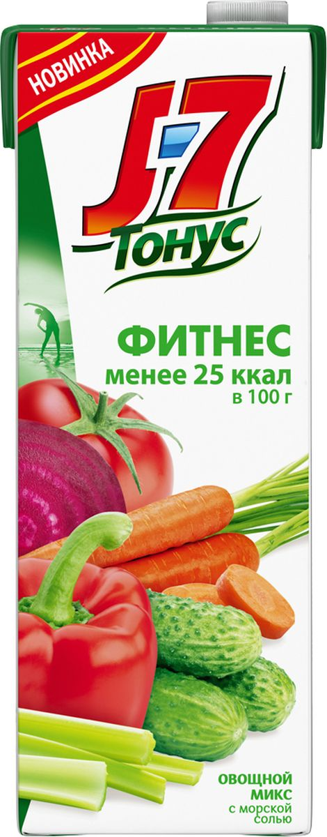 J-7 Тонус Смесь овощей с мякотью напиток сокосодержащий, 1,45 л j 7 frutz апельсин напиток сокосодержащий с мякотью 0 385 л