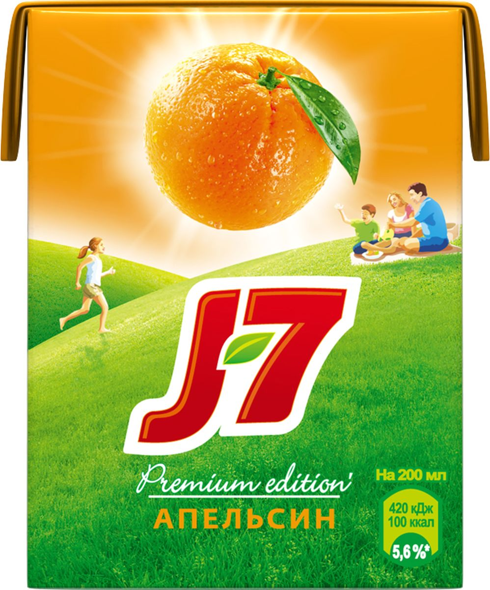 J-7 Апельсин сок с мякотью, 0,2 л340024912Дарите свое позитивное настроение окружающим, не боясь его растратить. Ведь вы в любой момент сможете восполнить его благодаря нашим цитрусовым сокам J7, заряженным энергией солнца.О бренде:J7 - первый бренд пакетированного сока, появившийся на