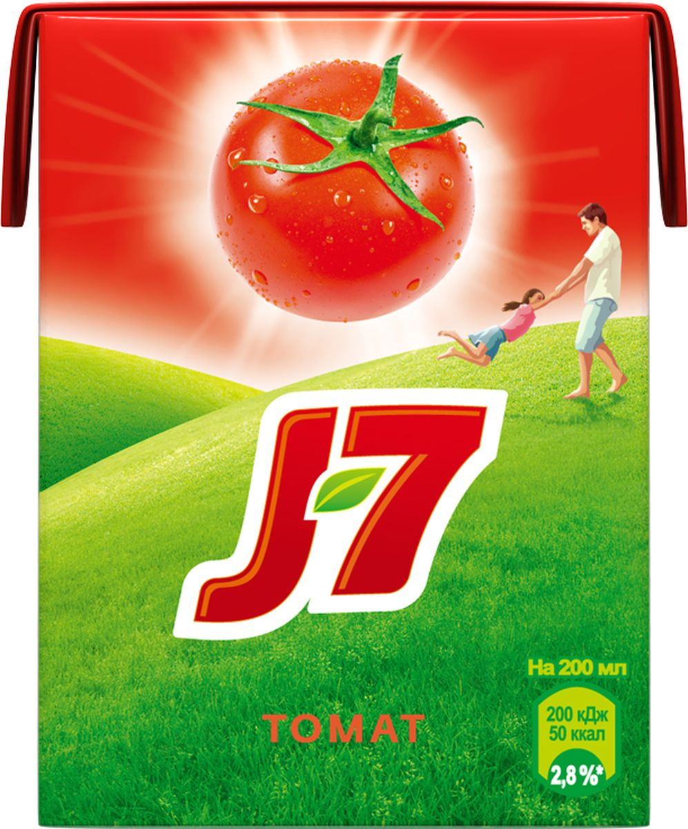 J-7 Томат с солью сок с мякотью, 0,2 л340024903Чтобы в вашем доме всегда звучал смех и царило хорошее настроение, найдите в нем место для J7. Сочные томаты зарядились позитивной энергией солнца, чтобы потом отдать ее до последней капли.О бренде:J7 - первый бренд пакетированного сока, появившийся на российском рынке в 1994 г. Основная линейка 100% соков и нектаров J7 состоит из 12 вкусов, каждый из которых сохраняет неповторимый вкус солнечных фруктов.