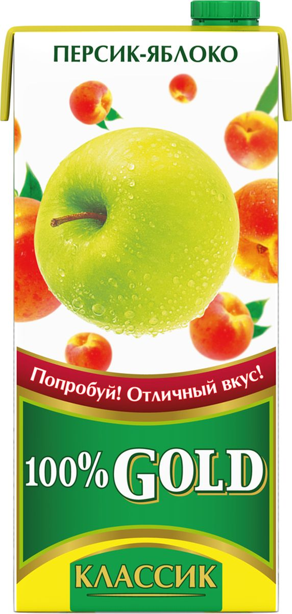 100% Gold Классик Персик-Яблоко напиток сокосодержащий, 0,95 л креатины qnt креатин creatine monohydrate 100