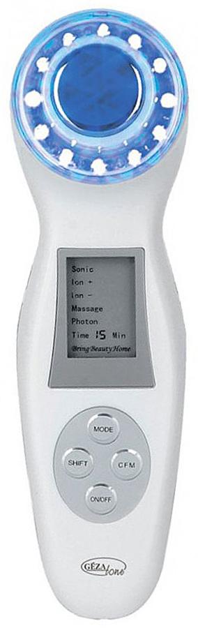 Gezatone Прибор по уходу за кожей лица с функцией светотерапии m3561302091SАппарат Superlifting Gezatone m356 – это настоящая замена косметологическому кабинету у вас в сумочке! Маленький и очень простой в обращении прибор быстро решит множество косметических задач и эффективно омолодит кожу. Световое воздействие - эффективность лечения.Светотерапия – это одна из наиболее эффективных и необычных функций аппарата. Её суть заключается в том, что световые лучи различных цветовых спектров проникают в самые глубокие слои кожи и определённым образом воздействуют на них. Аппарат работает в трёх цветовых режимах:Синий спектр: успокаивает кожу, сужает поры, эффективно борется с акне. Показан для применения, если у вас чувствительная, склонная к раздражениям кожа.Красный спектр: Тонизирует кожу, ускоряет процессы регенерации, выработку коллагена и эластина. Эффективно борется с морщинами, в том числе мимическими.Зелёный спектр: Идеально подходит для кожи смешанного типа, выравнивает цвет лица, корректирует пигментацию.Гальванические токи:Метод применения гальванических токов – это один из самых эффективных на сегодняшний день способов повышения регенерации кожи. Ускорение обменных процессов, выработки коллагена и эластина приводит к обновлению кожи – вы увидите, как она становится молодой и красивой прямо у вас на глазах!Показания к использованию аппарата:Прибор является новейшей разработкой компании Gezatone, он создан специально для того, чтобы в кратчайшие сроки решать проблемы возрастных изменений кожи, не нанося ей абсолютно никакого вреда. Приобретите и начните применять аппарат для решения следующих задач:Зрелая или стареющая кожа.Мимические морщины.Отёки.Проявления купероза.Сухая, чувствительная, склонная к раздражению кожа.Кожа, склонная к жирности и акне.Начните применять массажёр Superlifting Gezatone m356 – и вы удивитесь, насколько эффективно он заменит дорогостоящие походы к косметологу, быстро и эффективно справляясь с возрастными изменениями и сниженным тонусо