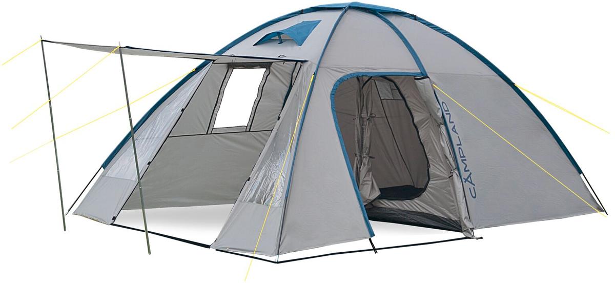 Палатка Campland Coyote 4, цвет: желтый, серыйCoyote 4_желтый, серыйПалатка двухслойная четырехместная Campland Coyote - удобная высокая палатка с очень большим тамбуром. Внутри палатки можно встать в полный рост и в тамбуре, и в комнате. Внешний тент водонепроницаем. Москитные сетки расположены на входных дверях во внутренней палатке.Особенности: Панорамные окна с двух сторон;Чехол с утягивающими стропами;Проклеенные швы;Термосклейка швов дна;Оттяжки по углам тента;Двуслойные двери.В спальном месте окон нет. Наружный тент: 72D 190Т полиэстер. Внутренняя палатка: 170T дышащий полиэстер. Дно: армированный полиэтилен 120 г/м2. Каркас: дуги из фибергласса диаметром 9,5 мм и 11 мм и стальные стойки 16 мм. Вес: 8800 г. Размер палатки в разложенном виде (ДхШхВ): 430 см х 250 см х 195 см. Размер в сложенном виде: 66 см х 19 см х 21 см.