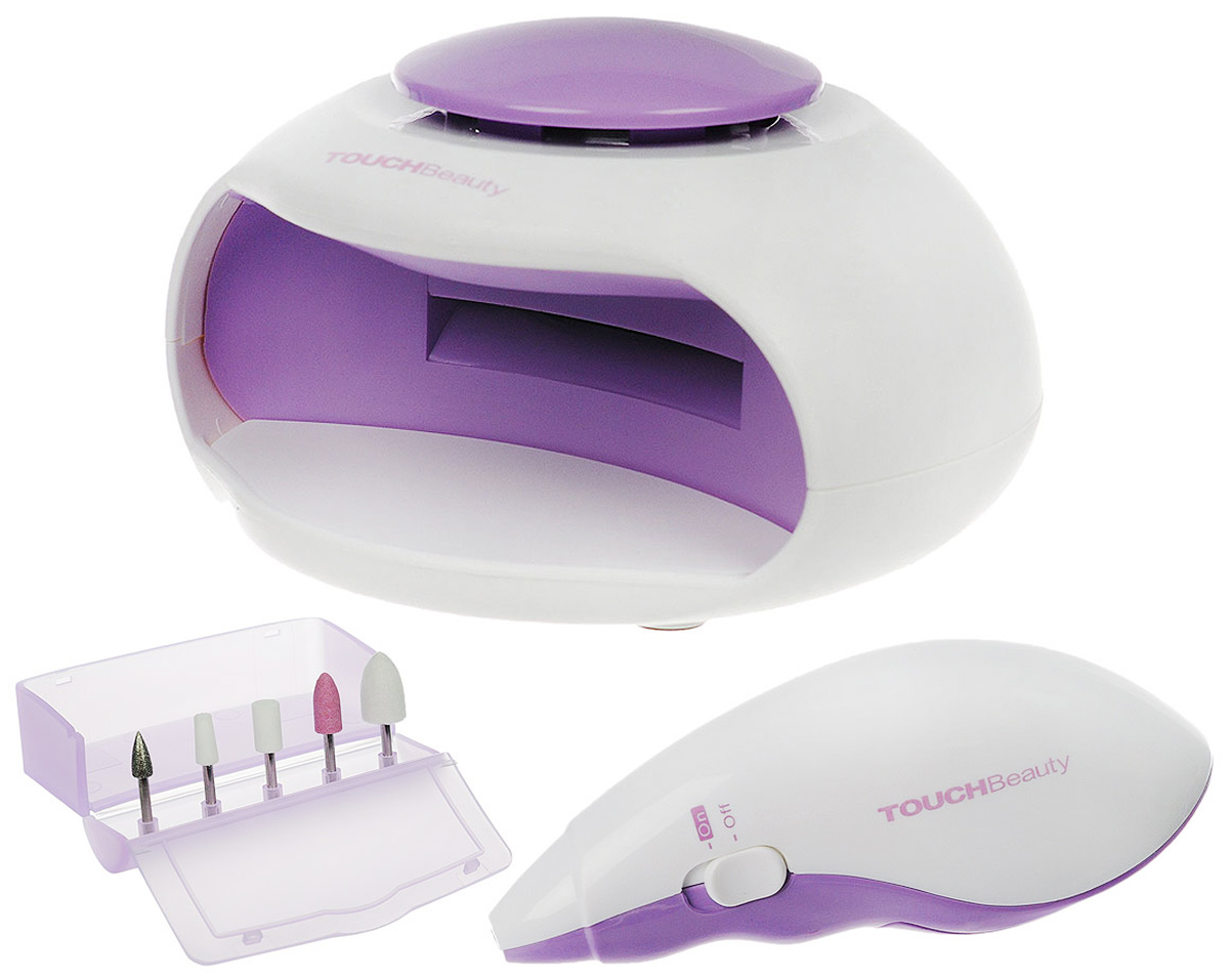 """Touchbeauty Маникюрный набор 2в1 Nail Beauty Kit, цвет: сиреневый. AS-1002AS-1002_сиреневыйУниверсальный маникюрно-педикюрный набор 2в1 """"Nail Beauty Kit"""" - для заботливого ухода за ногтями.В комплекте: электроприбор для профессионального маникюра, 5 насадок, УФ-электросушка для быстрого высыхания лака, футляр для хранениянасадок.Прибор для маникюра используется для ухода за ногтями - формирования, полировки. Электрическая сушилка для ногтей предназначена дляфинальной сушки лака. Насадки:Насадка для кутикулы - формирует край ногтя и устраняет кутикулу; Насадка для формирования - полирует поверхность или тонкий передний крайакрилового или натурального ногтя; Карборундовая насадка - измельчает акриловый ноготь для обеих сторон и по задней кромке; Конуснаянасадка - для полировки заднего края акрилового ногтя, чтобы получить гладкую поверхность на стыке с натуральным ногтем; Войлочная насадка- полировка поверхности для получения блеска. Прибор работает от 2 батареек типа ААА, Уф-электросушка - от 3 батареек типа ААА (в комплект не входят). Товар сертифицирован."""