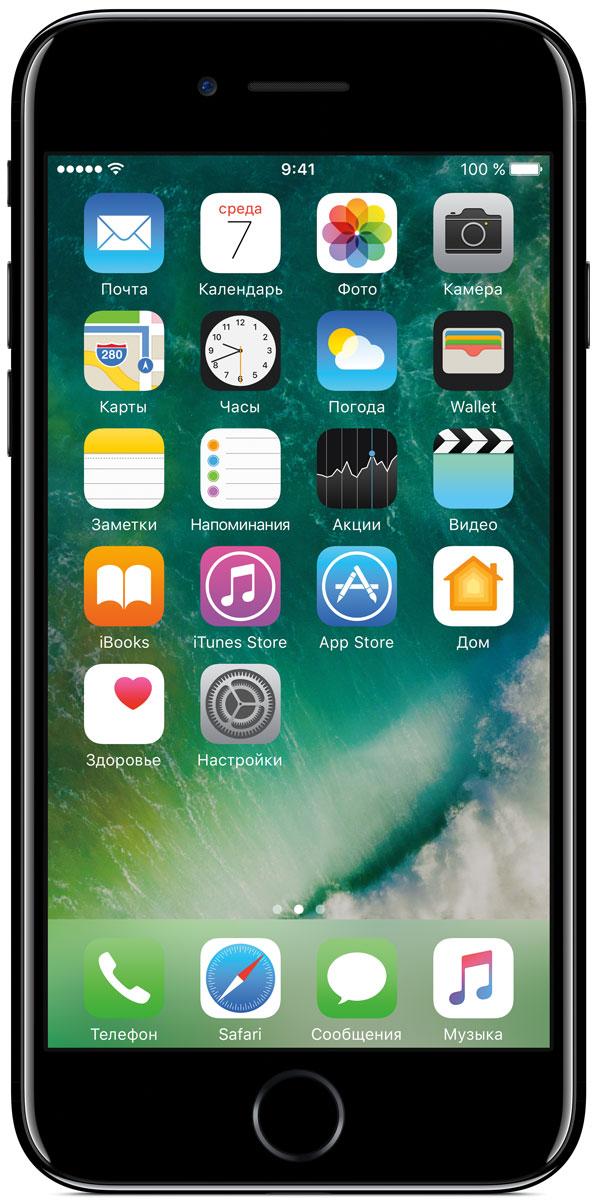 Apple iPhone 7 32GB, Jet BlackMQTX2RU/AApple iPhone 7 оснащен великолепной камерой, которая позволяет делать невероятные снимки. Этот телефон обладает высокой производительностью и самым долговечным аккумулятором среди всех моделей iPhone, великолепными стереодинамиками, системой широкой цветопередачи от камеры на экран. Для iPhone 7 доступны два новых великолепных цвета корпуса, а также обеспечивается защита от воды и пыли.В iPhone 7 встроена самая популярная в мире камера. Благодаря совершенно новым функциям она стала ещё лучше. 12-мегапиксельная камера в iPhone 7 оснащена системой оптической стабилизации изображения, обладает высокой светосилой f/1.8 и 6-элементным объективом для съёмки ярких фотографий и видео с высоким разрешением. Расширенный цветовой диапазон позволяет фиксировать яркие цвета во всех деталях.Другие усовершенствования камерыНовый процессор обработки сигнала изображения, созданный Apple, выполняет более 100 миллиардов операций на одной фотографии всего за 25 миллисекунд. Это обеспечивает невероятное качество снимков и видео. Новая 7-мегапиксельная камера FaceTime HD обладает более широкой цветопередачей, передовой технологией пикселей и системой автоматической стабилизации изображения для съёмки отличных селфи. Новая вспышка True Tone Quad-LED на 50% ярче, чем в iPhone 6s. Она оснащена передовой матрицей, которая распознаёт и сглаживает блики на видеозаписях и фотографиях.Работает дольше и эффективнееРаботу всех этих инноваций обеспечивает новый процессор A10 Fusion, специально созданный Apple. Новая архитектура делает его самым мощным процессором в истории смартфонов. При этом он обеспечивает более долгую работу без подзарядки, чем у любой другой модели iPhone. Процессор A10 Fusion выполнен по 4-ядерной технологии: в нём объединены два высокомощных ядра, работающих почти вдвое быстрее, чем iPhone 6, и два высокоэффективных ядра, которые способны потреблять в 5 раз меньше энергии, чем высокомощные ядра. Скорость обработки графики также возросла