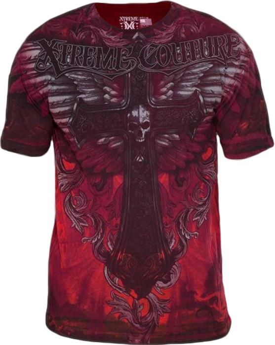 Футболка мужская Affliction Xtreme Couture Hell Born, цвет: бордовый. X1383. Размер XL (52) day s & l hell