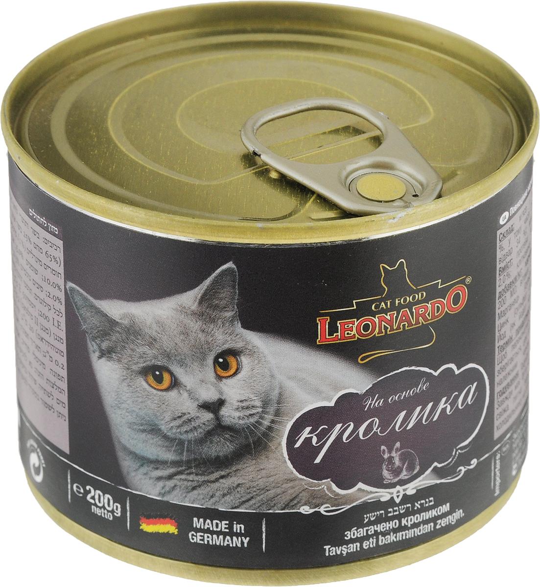 Корм консервированный Leonardo для кошек, с кроликом, 200 г65925Консервированный корм Leonardo - полноценное питание для кошек. Корм изготовлен из натуральных ингредиентов и несомненно понравится вашему питомцу. Он содержит все питательные вещества, витамины и минералы, необходимые для сбалансированного питания вашей кошки каждый день. Это изысканное блюдо - яркий пример того, как простые ингредиенты в руках истинного кулинара превращаются в удивительно вкусное блюдо.Товар сертифицирован.