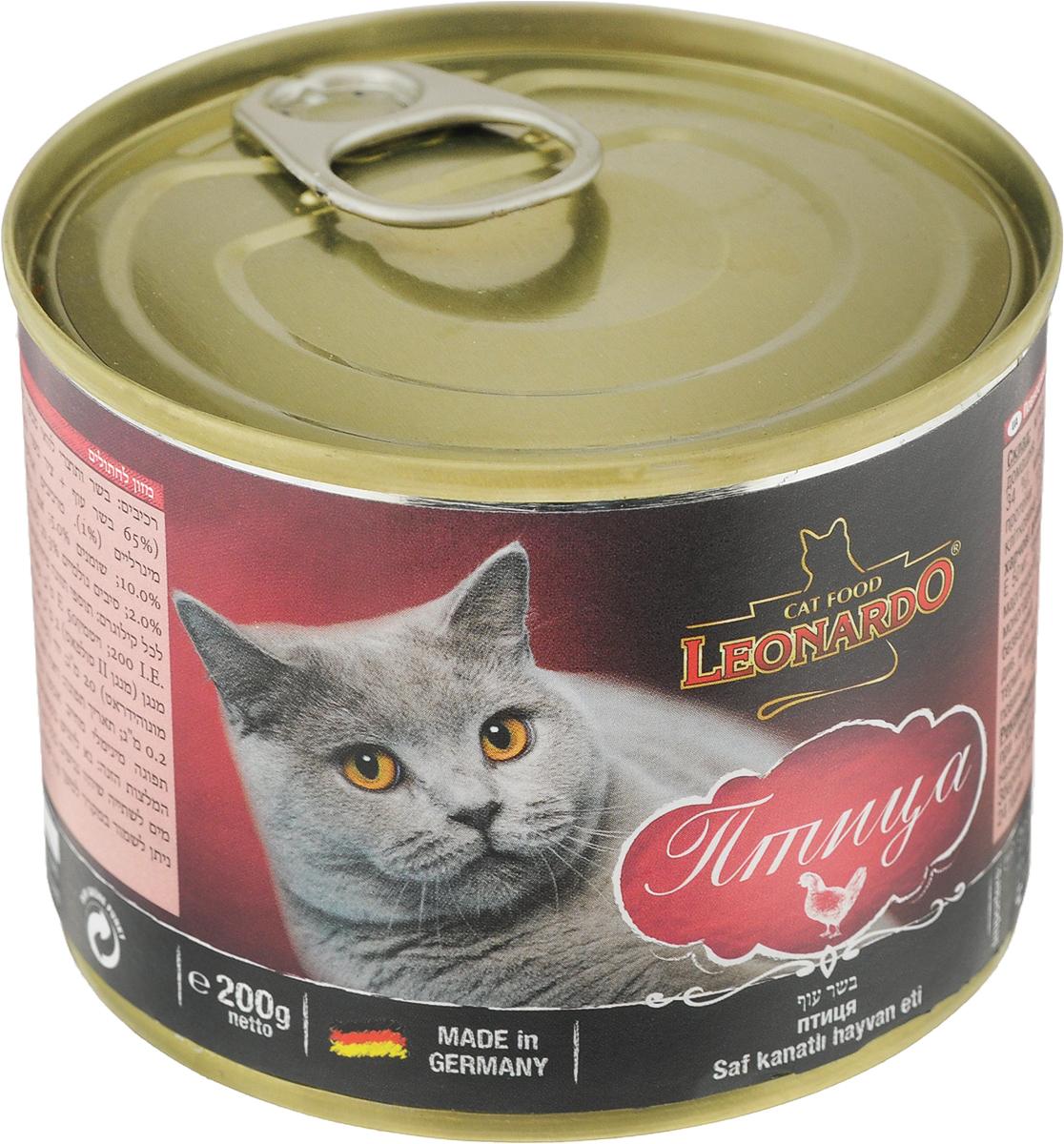 Корм консервированный Leonardo для кошек, с птицей, 200 г65247Консервированный корм Leonardo - полноценное питание для кошек. Корм изготовлен из натуральных ингредиентов и несомненно понравится вашему питомцу. Он содержит все питательные вещества, витамины и минералы, необходимые для сбалансированного питания вашей кошки каждый день. Это изысканное блюдо - яркий пример того, как простые ингредиенты в руках истинного кулинара превращаются в удивительно вкусное блюдо.Товар сертифицирован.
