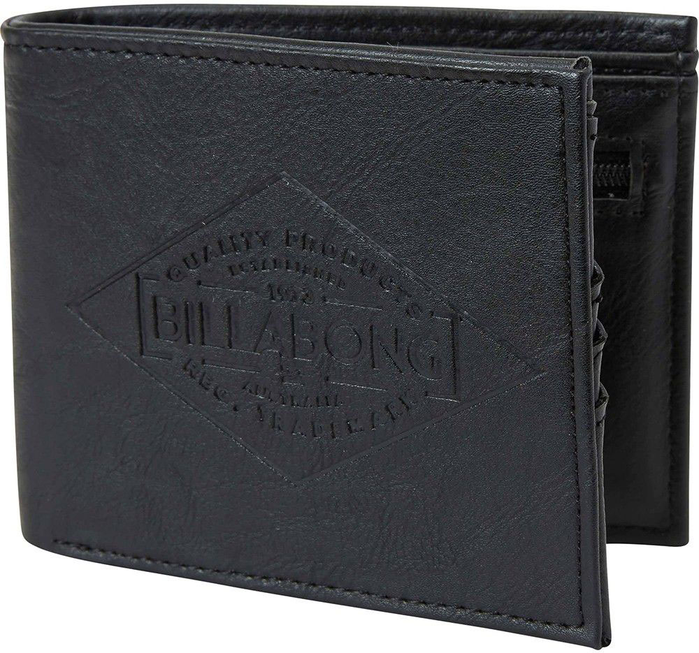 Кошелек Billabong Bronson, цвет: черныйF5WM08Вместительный бумажник двойного сложения с ярким дизайном. Внутри основное отделение для купюр, двойной кардхолдер и кармашек для монет на молнии.
