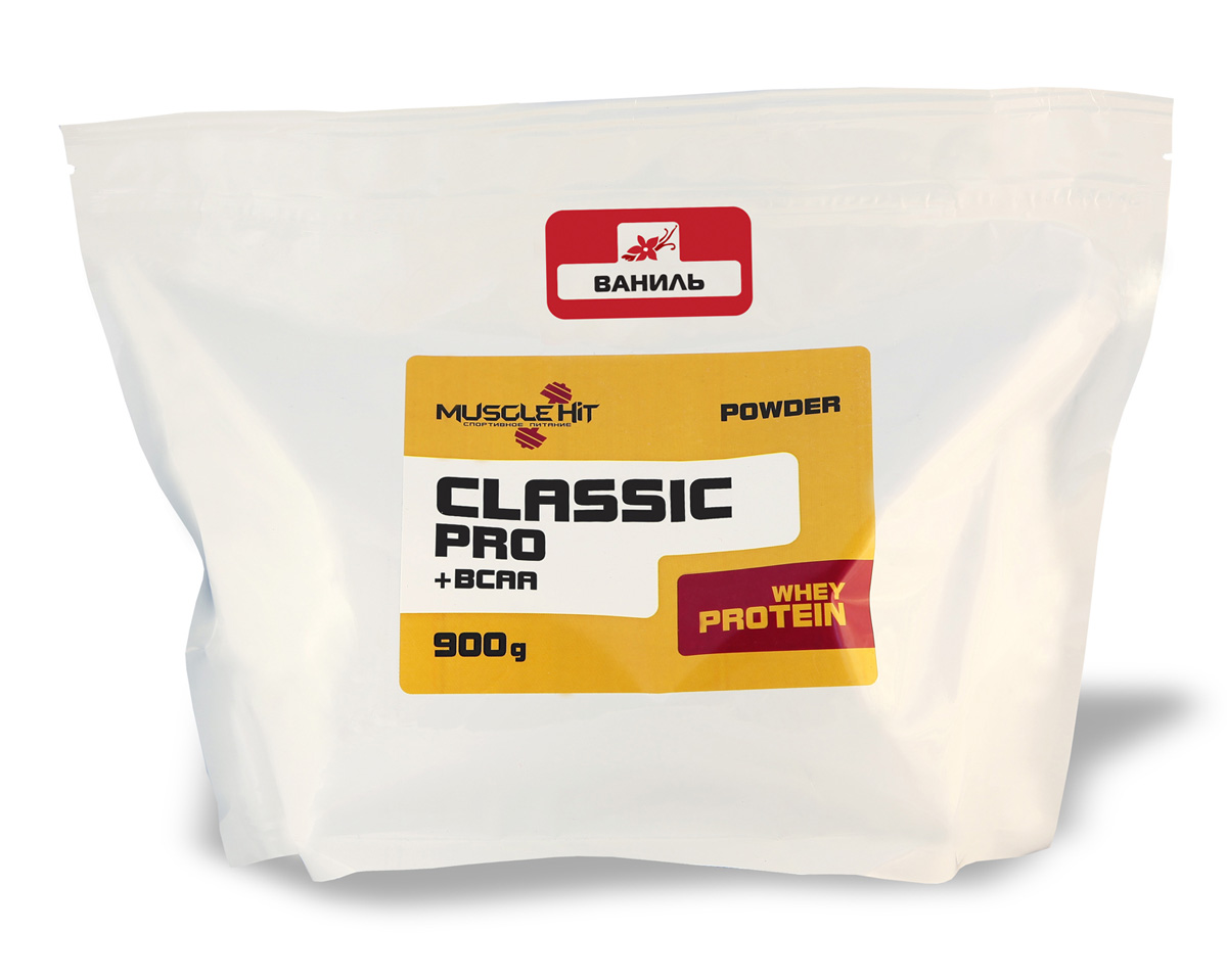 Протеин Muscle Hit Classic Pro, ваниль, 900 г105019Muscle Hit Classic Pro - источник дополнительного сывороточного протеина быстрого усвоения и комплекса BCAA (лейцин + валин + изолейцин) -незаменимых L-аминокислот с разветвленной молекулярной цепочкой. Предотвращает катаболизм, оптимизирует процессы восстановленияпосле нагрузок/тренировок. Продукт предназначен для набора сухой мышечной массы.Рекомендации по применению: для приготовления коктейля 1 порцию порошка (50 г = 2 мерные ложки с горкой) размешайте в шейкере в 250- 300 мл воды, или сока, или нежирного молока до получения однородной массы. Коктейль принимайте 2 раза в день (после тренировки и междуприемами пищи). Готовый продукт хранению не подлежит. При разведении в молоке и соке пищевая и энергетическая ценность увеличивается. Состав: концентрат сывороточного белка, глюкоза, кристаллическая фруктоза, комплекс незаменимых аминокислот ВСАА (лейцин, валин,изолейцин), вкусовой наполнитель.Товар сертифицирован.Как повысить эффективность тренировок с помощьюспортивного питания? Статья OZON Гид