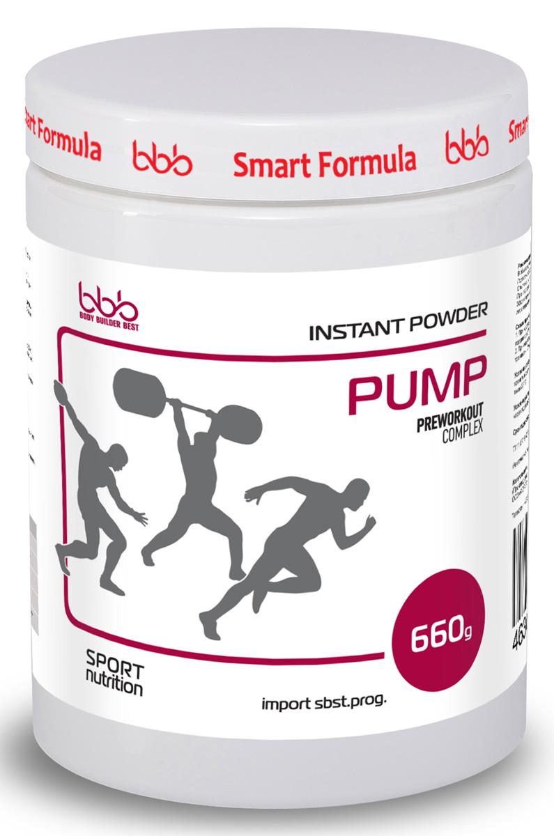 Предтренировочный комплекс bbb Pump, 660 г. 105311105311Предтренировочный комплекс bbb PUMP разработан на базе мировых научных исследований 2015г-2016г и предназначен как для профессиональных спортсменов, так и для новичков- Способствует увеличению пиковой мощности при интенсивном тренинге, значительно увеличивает взрывную силу (1)*.- Позволяет увеличить количество повторений и сокращает время восстановления между подходами/повторами при применении у пауэрлифтеров, тяжелоатлетов и спринтеров (2, 3)*.Представители циклических видов спорта (бегуны на средние дистанции, велосипедисты) могут применять bbb PUMP в жёстком интервальном тренинге и сочетать его с bbb PRO Training, если длительность тренировки составляет более 30 минут. Активность компонентов.Цитруллин позволяет повысить анаэробную мощность и улучшить результат в каждом повторении (3, 4, 5)*. Незаменимая аминокислота L-лейцин, являясь катализатором синтеза белка, способствует ускоренному восстановлению (6)*. Липоевая кислота - мощнейший антиоксидант, предотвращает образование свободных радикалов, концентрация которых в крови резко возрастает при насыщении крови азотом (7)*.Декстроза - необходимый поставщик энергии быстрого доступа, протектор анаболических процессов.Продукт идеален в предсоревновательный период, так как позволяет легко контролировать вес в связи с отсутствием в составе креатина. Перед применением обязательна консультация специалиста.*Новейшую информацию об активности компонентов см. на сайте www.bbbest.ru. Рекомендации по применению: В общих случаях рекомендуется принимать по 1 порции порошка (6,6г = 1 мерная ложка) за 30-45 минут до тренировки. Порошок разводить в 150мл воды/сока.Опытные атлеты могут увеличивать порцию до 5 раз (по согласованию со специалистом). При первом приеме следует строго соблюдать дозировку, настраивая организм на применение bbb PUMP. Эффективное время приема лучше подбирать индивидуально, учитывая особенности каждого атлета. Схемы приема. 1. При коротком интенсивном т