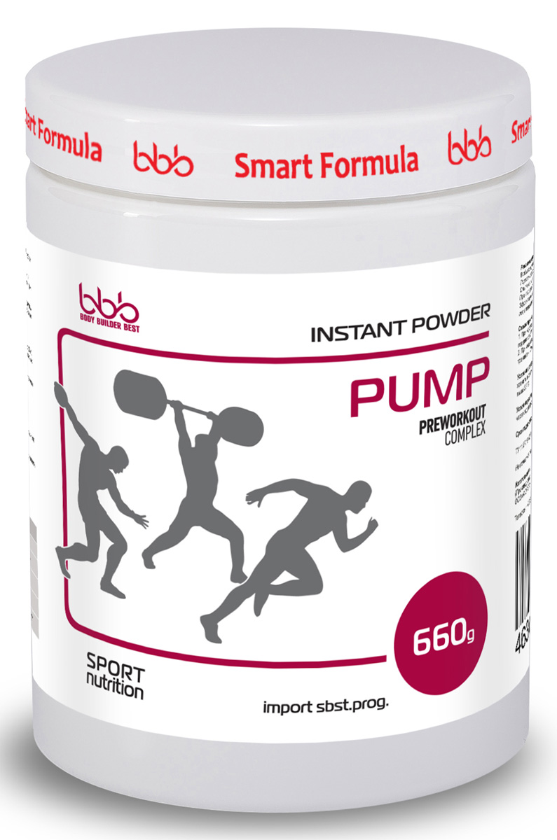 Предтренировочный комплекс bbb Pump, 660 г. 105312105312Предтренировочный комплекс bbb PUMP разработан на базе мировых научных исследований 2015г-2016г и предназначен как для профессиональных спортсменов, так и для новичков- Способствует увеличению пиковой мощности при интенсивном тренинге, значительно увеличивает взрывную силу (1)*. - Позволяет увеличить количество повторений и сокращает время восстановления между подходами/повторами при применении у пауэрлифтеров, тяжелоатлетов и спринтеров (2, 3)*.Представители циклических видов спорта (бегуны на средние дистанции, велосипедисты) могут применять bbb PUMP в жёстком интервальном тренинге и сочетать его с bbb PRO Training, если длительность тренировки составляет более 30 минут.Активность компонентов. Цитруллин позволяет повысить анаэробную мощность и улучшить результат в каждом повторении (3, 4, 5)*.Незаменимая аминокислота L-лейцин, являясь катализатором синтеза белка, способствует ускоренному восстановлению (6)*.Липоевая кислота - мощнейший антиоксидант, предотвращает образование свободных радикалов, концентрация которых в крови резко возрастает при насыщении крови азотом (7)*. Декстроза - необходимый поставщик энергии быстрого доступа, протектор анаболических процессов. Продукт идеален в предсоревновательный период, так как позволяет легко контролировать вес в связи с отсутствием в составе креатина.Перед применением обязательна консультация специалиста. *Новейшую информацию об активности компонентов см. на сайте www.bbbest.ru. Рекомендации по применению: В общих случаях рекомендуется принимать по 1 порции порошка (6,6г = 1 мерная ложка) за 30-45 минут до тренировки. Порошок разводить в 150мл воды/сока. Опытные атлеты могут увеличивать порцию до 5 раз (по согласованию со специалистом).При первом приеме следует строго соблюдать дозировку, настраивая организм на применение bbb PUMP. Эффективное время приема лучше подбирать индивидуально, учитывая особенности каждого атлета.Схемы приема.1. При коротком интенсивном тр